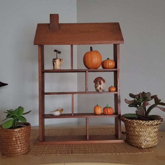 Wood country primitive Wall shelf house shape
